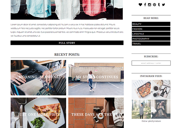 multifunctional, grid style, layout, magazine style theme, blogger, kotryna bass, satile copy